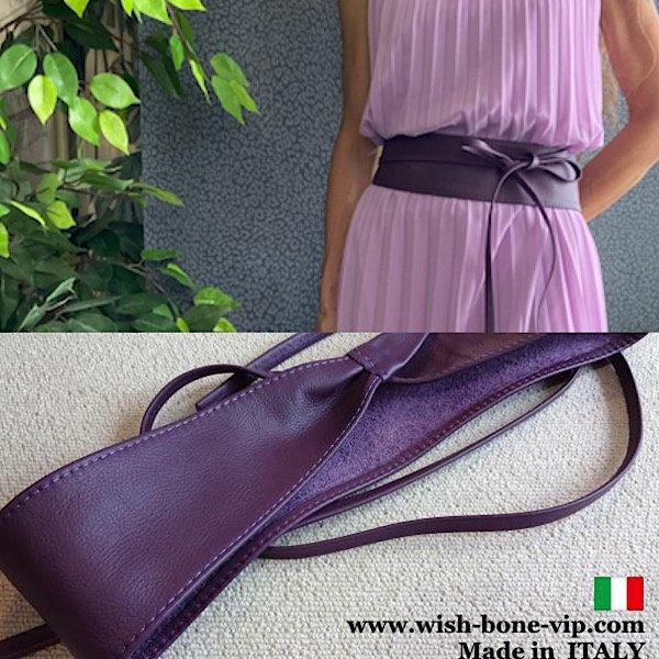 【イタリア製MadeinITALY】本革レザー・ロング ラップ巻きデザインベルト/パープルの画像