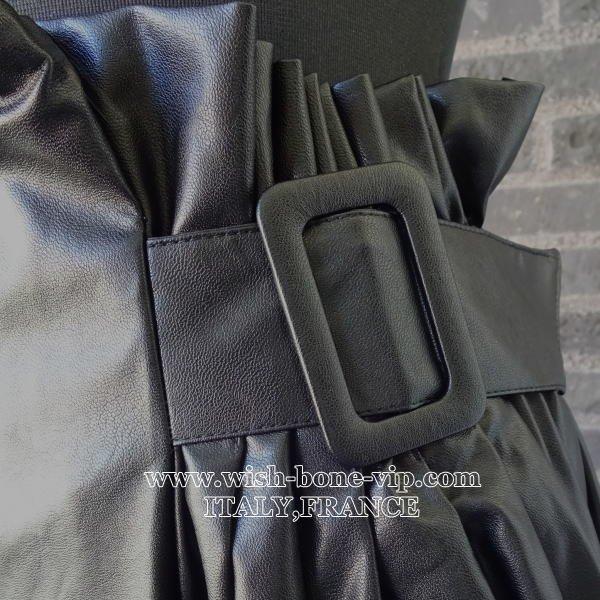 【イタリア製インポート】サイドBIGバックル・後ろゴム エコ フェイクレザー ミモレ・ロングスカート/ブラックの画像