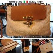 【Made in ITALY】イタリア製レザー(本革)パイソン型押し&ゴールド 付け替えダブルショルダークラッチバッグ/クリーム