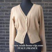 【イタリア製/ITALY】ヴィスコース混Vネック&すそラメ織りカーディガン/ベージュ(M)