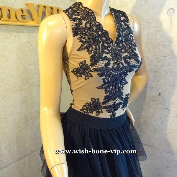 イタリアインポート | 刺繍レーストップス&ティアード切り替え ロング・マキシスカート SET/ベージュ&ブラック(S)(M)の画像