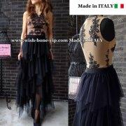 イタリアインポート | 刺繍レーストップス&ティアード切り替え ロング・マキシスカート SET/ベージュ&ブラック(S)(M)