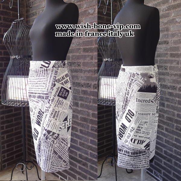 【UKロンドン/インポート】ストレッチジャージ ペンシル・タイトスカート/モノトーン英字アルファベット(6)(8)(10)(12)(14)の画像