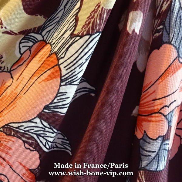【フランスインポート/FIFILLES PARIS フィフィーユ・パリ】後ろ調節&Aライン ストレッチ製 五分袖ワンピース/ボルドー系フラワー(T2)の画像