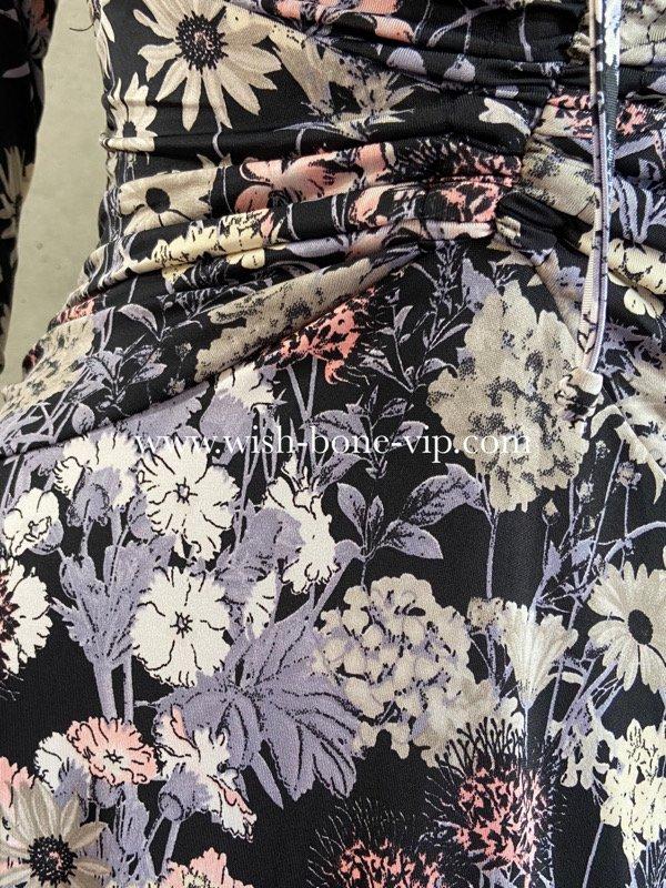 フランスインポート   EGERIE   エジェリィ   胸元シャーリング 七分袖ジャージプリントワンピース/ピンク&グレー・フラワーの画像