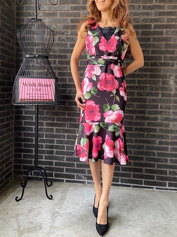 UK/ロンドンインポート | ストレッチ裾マーメイド&ミモレ丈ワンピース/ピンクROSEローズフラワー(10)(12)の画像