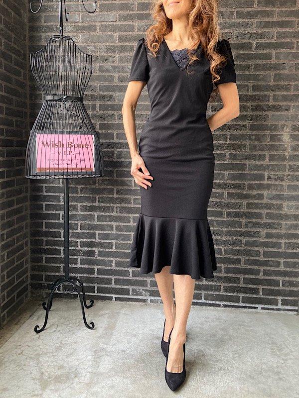 UK/ロンドンインポート | ストレッチ裾マーメイド切り替え・ミモレ丈ワンピース/ブラック(10)の画像