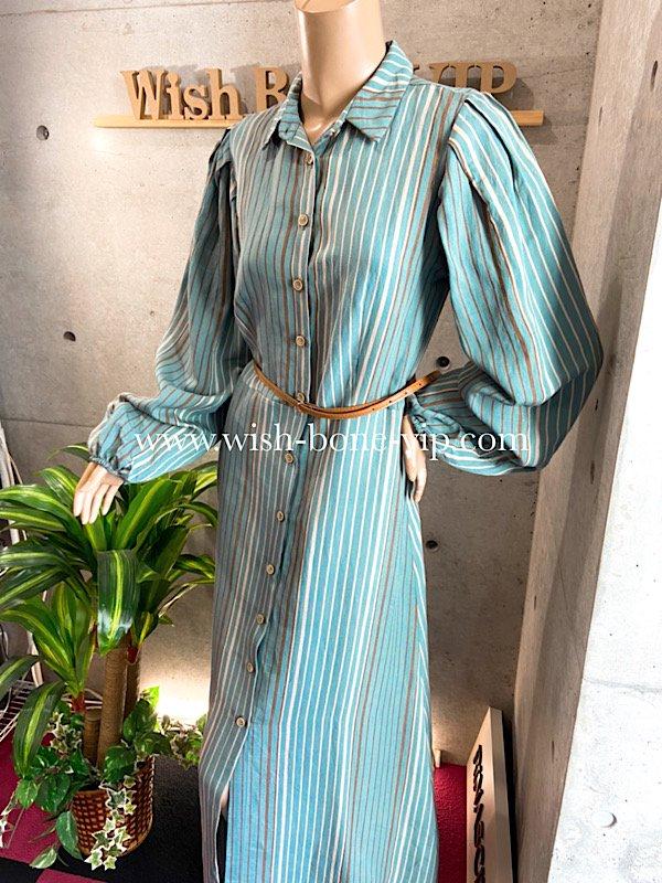 【イタリア製MadeinItaly】長袖ロング/マキシ丈シャツワンピース/グリーン系ストライプの画像