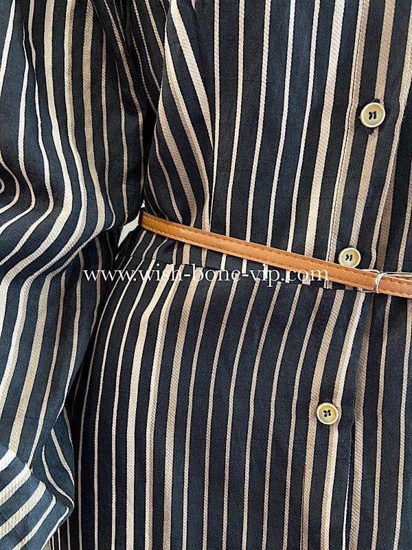【イタリア製MadeinItaly】長袖ロング/マキシ丈シャツワンピース/ブラック系ストライプ(S)の画像