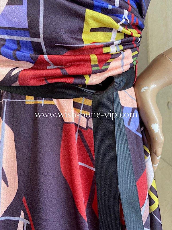 フランスインポートLO | 伸縮ストレッチジャージ | 七分袖Aラインワンピース/アートリーフ ブラウンボルドーの画像