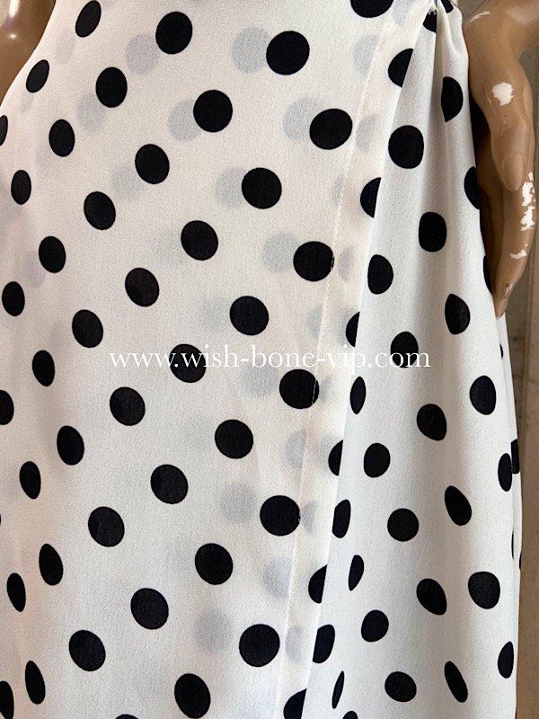 UK/ロンドンインポート | 完全ラップ巻き細リボン ミモレ丈ワンピース/ホワイト&ブラック水玉ドット(12)の画像