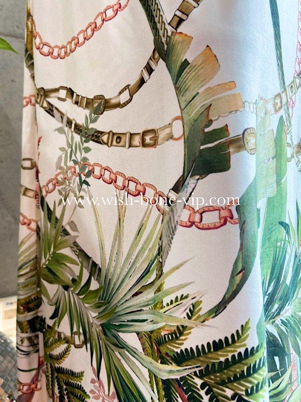 フランス製インポート   ストレッチ素材ジャージ後ろ調節/マキシ・ロング丈 ワンピース/ホワイト&グリーンボタニカル(T2)の画像