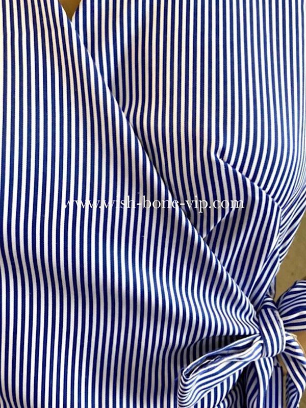 ITALY/イタリア製インポート Vネック&ラップ巻き  切り替えバルーン ミモレ・ロング丈マキシワンピース/ネイビー系ストライプ(Free)の画像