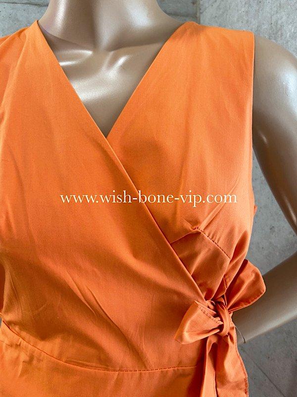 ITALY/イタリア製インポート|Vネック&ラップ巻き| 切り替えバルーン|ミモレ・ロング丈マキシワンピース/オレンジ無地(Free)の画像