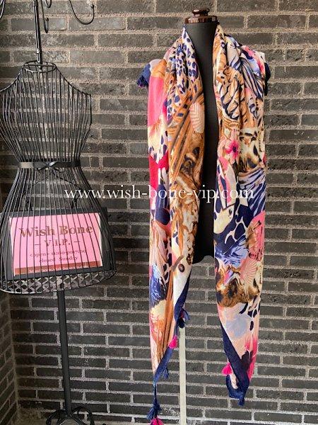 フランスインポート|130cm大判スクエア・チャーム付きストール・スカーフ|バードフラワー/ピンクネイビーの画像
