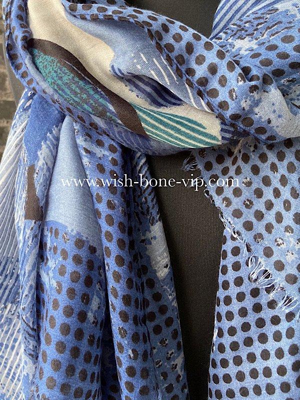 フランスインポート|186cm ポリエステル 大判ロングストール・スカーフ|デザインドット・ネイビー&ブルーの画像