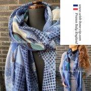 フランスインポート|186cm ポリエステル 大判ロングストール・スカーフ|デザインドット・ネイビー&ブルー