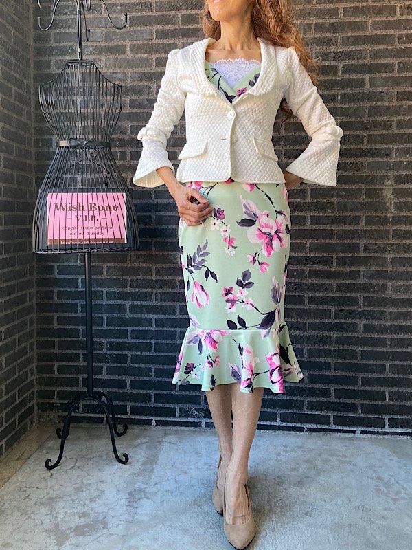UK/ロンドンインポート | ストレッチ&裾マーメイド&ミモレ丈ワンピース/淡いグリーン系ピンクフラワー(10)の画像