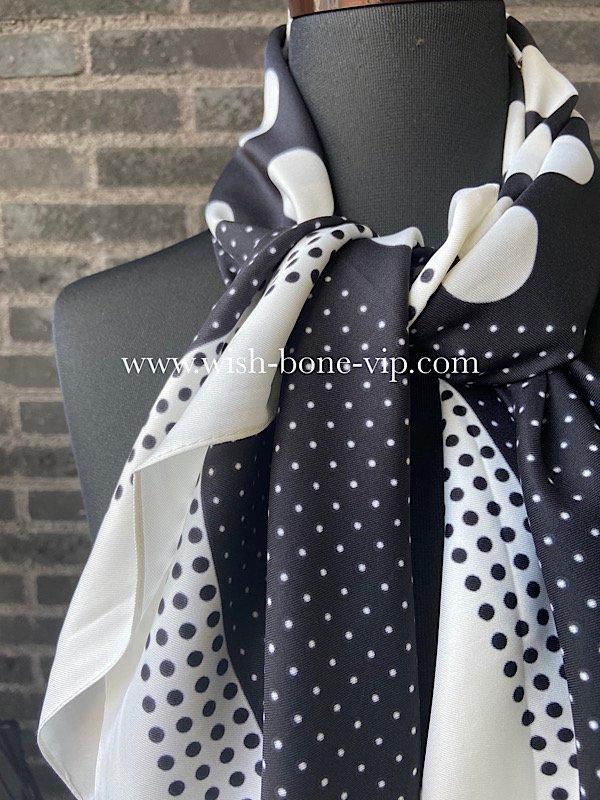 【フランスインポート】90cmスクエア ポリエステル ツヤスカーフ/ブラック&ホワイトMIX ドットの画像