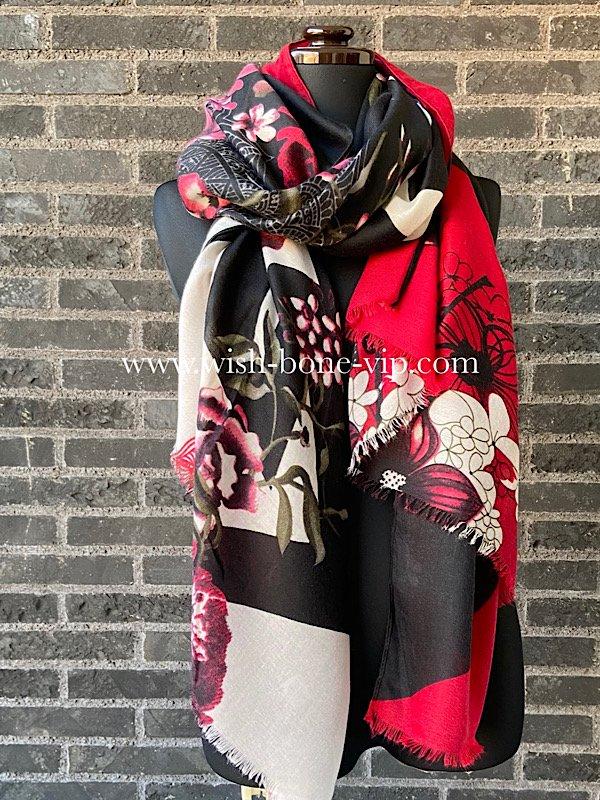 フランスインポート 182cm  大判ロングストール・スカーフ ブラック&レッド/アートフラワーの画像