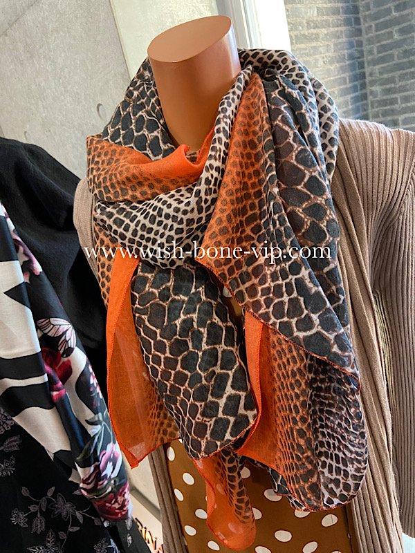 フランスインポート|180cm ポリエステル 大判ロングストール・スカーフ|ブラウン系レオパード&オレンジの画像