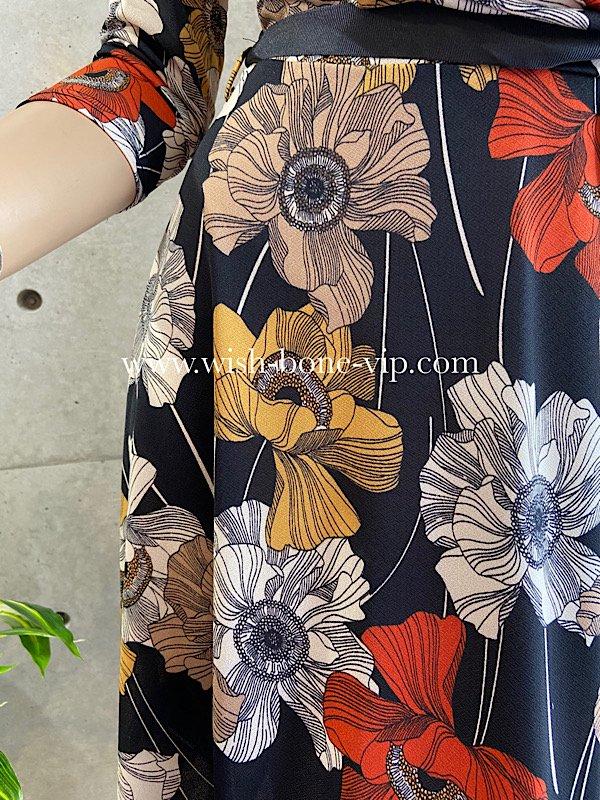 フランスインポート   BIGフラワープリントワンピース   七分袖&Aライン/ストレッチ素材/オレンジ・ベージュ(T1)の画像