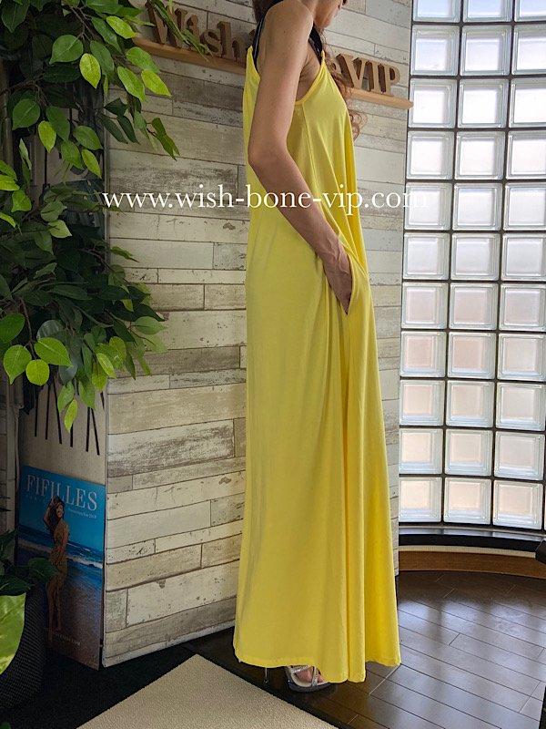 イタリア製インポートブランド|ジャージ・ストレッチ|Maxi dress|ロング・マキシ丈ワンピース+ベルト付き/イエローの画像