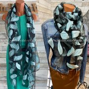 【フランスインポート】大判&ロング|シースルー&葉っぱの刺繍・ストールスカーフ/ブルー