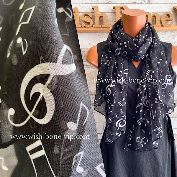 【フランスインポート】透けシフォン|スリム&ロング 室内・飾りスカーフ/音符ブラック