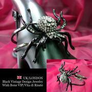 【UK/London Jewelry】ブラック スパーダー(クモ)&ラインストーン バングルブレスレット