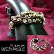 【UK/London Jewelry】ラインストーン&網み紐 3連ブレスレット/ブラウン&ゴールド