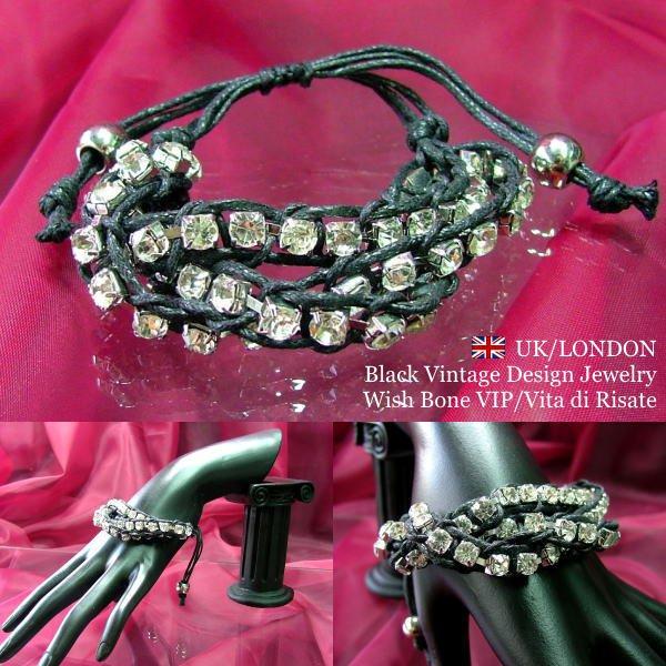 【UK/London Jewelry】ラインストーン&網み紐 3連ブレスレット/ブラック&シルバーの画像