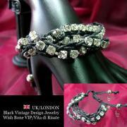 【UK/London Jewelry】ラインストーン&網み紐 3連ブレスレット/ブラック&シルバー
