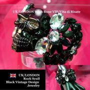 【UK/London】ロック&セクシーBIGスカル&フラワー バングルブレスレット/ブラック&ラインストーン