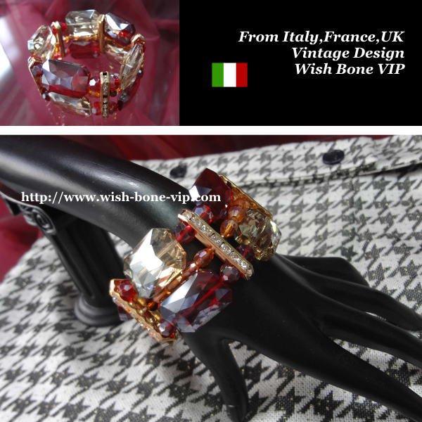 【Made in ITALY】オリエンタル・アンティークデザイン BIGビジュー ストーン ブレスレット/レッドの画像