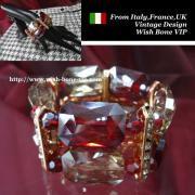 【Made in ITALY】オリエンタル・アンティークデザイン BIGビジュー ストーン ブレスレット/レッド