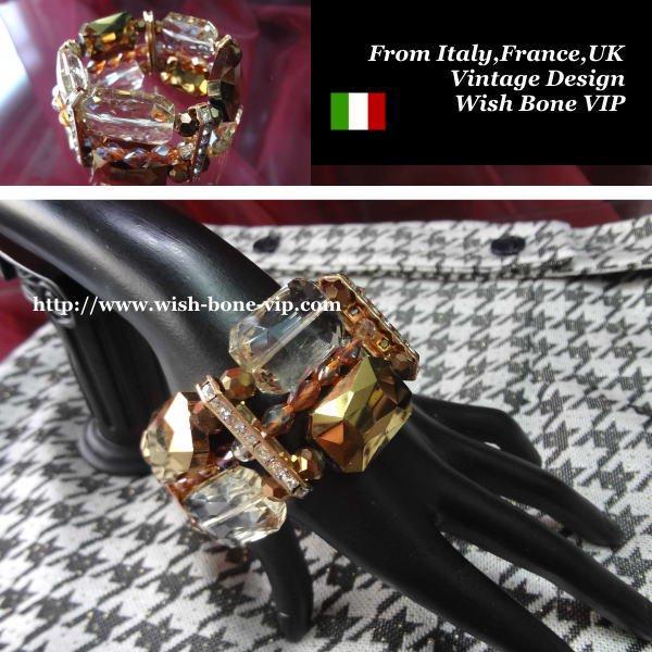 【Made in ITALY】オリエンタル・アンティークデザイン BIGビジュー ストーン ブレスレット/ブラウンの画像