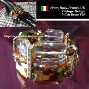 【Made in ITALY】オリエンタル・アンティークデザイン BIGビジュー ストーン ブレスレット/ブラウン