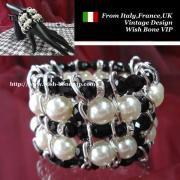 【Made in ITALY】ぎっしりパール&ワイヤーデザイン ワイドブレスレット/ホワイト&ブラック