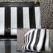 【Made in ITALY】上質イタリアレザー(本革) ストライプ 横長ワイド クラッチバッグ/ブラック