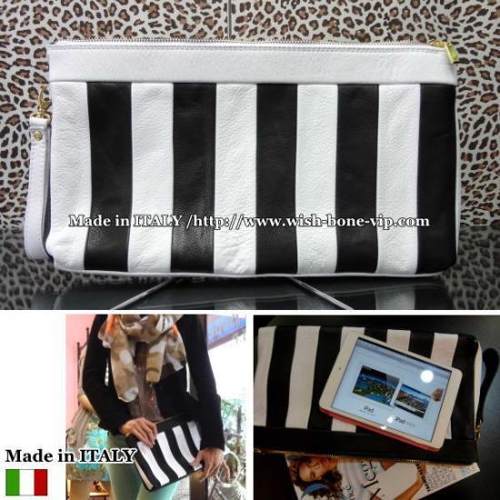 【Made in ITALY】上質イタリアレザー(本革) ストライプ 横長ワイド クラッチバッグ/ホワイトの画像