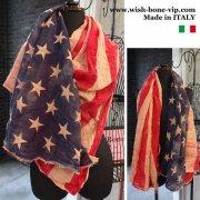 【イタリア製MadeinITALY】コットンシュリンク ヴィンテージ風USA国旗 ロング スカーフ・ストール/レッド