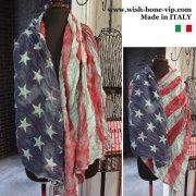 【イタリア製MadeinITALY】コットンシュリンク ヴィンテージ風USA国旗 ロング スカーフ・ストール/ブルー