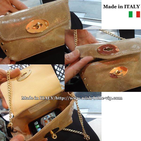 【Made in ITALY】イタリア製レザー(本革)&ゴールドスタッズ ダブルチェーン クラッチバッグ/トープの画像