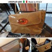 【Made in ITALY】イタリア製レザー(本革)&ゴールドスタッズ ダブルチェーン クラッチバッグ/トープ
