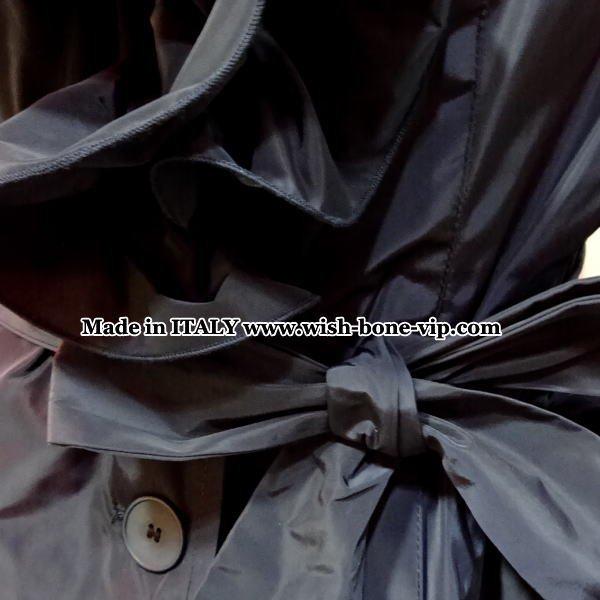 【イタリア製 RINASCIMENTO/リナシメント】たっぷりフレアえり&くくりベルト スプリングコート/ネイビーの画像