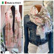 【イタリア/Made in ITALY】サラッと肌触り大判&ロング上質モダール ストール・スカーフ/英字&ハートピンク
