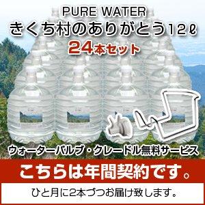 PURE WATER きくち村のありがとう12リットル入り×24本【年間契約・送料込み】