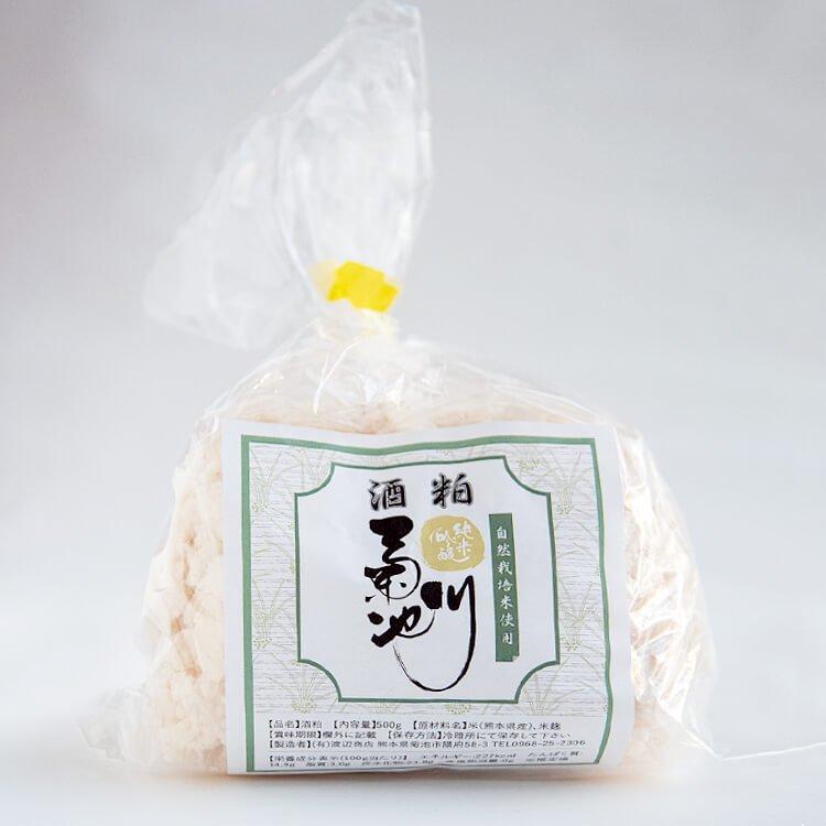 純米吟醸 菊池川の「酒粕」500g(農薬不使用・自然栽培米、菊池の天然水を使用)