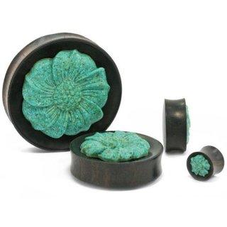 ターコイズ石製 花の彫刻 プラグ ボディピアス